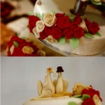 Torte mit Marzipan oder Zuckerrosen